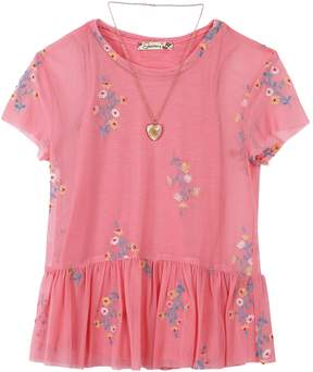 Speechless Girls 7-16 Tee & Embroidered Babydoll Tank Top Set with Necklace