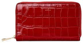 Aspinal of London | Midi Continental Clutch Zip Wallet In Deep Shine Red Croc | Deep shine red croc