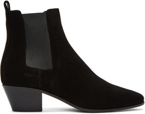 Saint Laurent Black Suede Rock Chelsea Boots