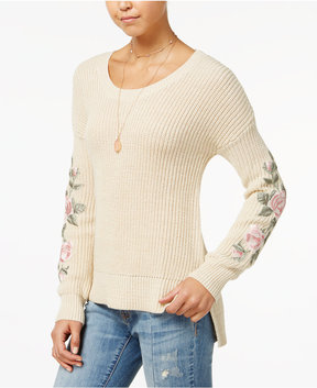 American Rag Juniors' Embroidered High-Low Sweater, Created for Macy's