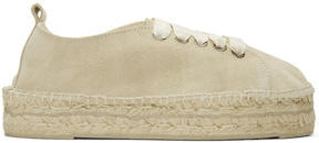 Manebi Beige Suede Hamptons Lace-Up Espadrilles