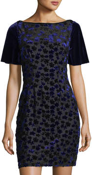 T Tahari Velvet-Embroidered Mesh Dress