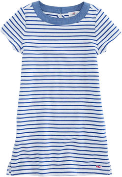 Vineyard Vines Girls Stripe Knit Chambray Dress