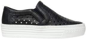 Armani Junior Perforated Leather Slip-On Sneakers