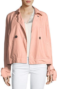 Forte Forte Two-Button Boxy Poplin Trench Coat