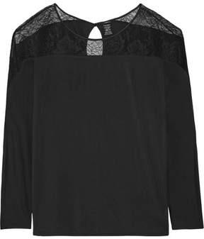Calvin Klein Underwear Decadence Lace-paneled Modal-blend Pajama Top - Black