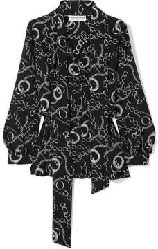 Balenciaga Pussy-bow Printed Silk Crepe De Chine Blouse - Black