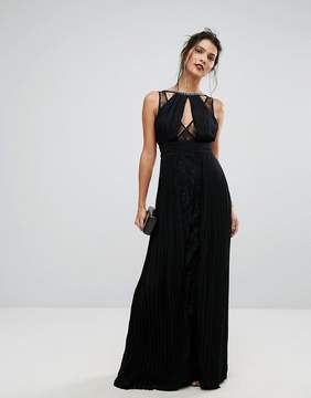 TFNC High Neck Embellished Maxi Dress With Lace Insert