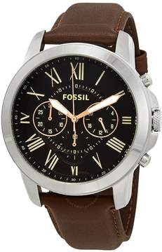 Fossil Grant Chronograph Black Dial Brown Leather Men's Watch