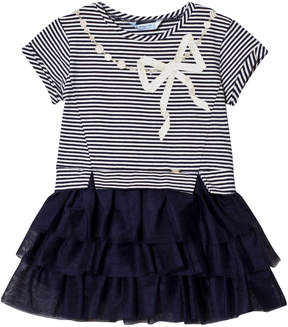 Mayoral Navy Diamante Bow Stripe Tulle Dress