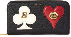 Bally Black Spade & Heart Large Zip-Around Wallet