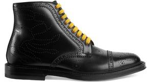 Leather crab brogue boot