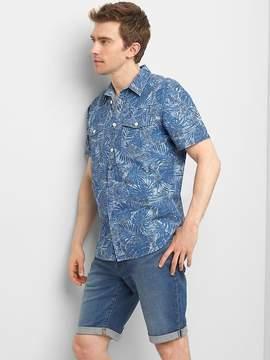 Gap Chambray floral short sleeve standard fit shirt