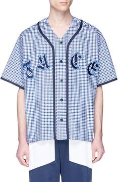 Facetasm Logo appliqué check plaid baseball shirt