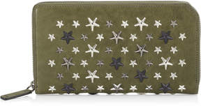 Jimmy Choo CARNABY Army Green Leather Travel Wallet with Gunmetal Metallic Mix Stars
