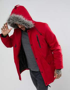 New Look Parka With Faux Fur Hood In Red
