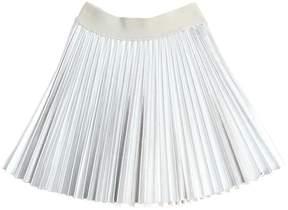 MonnaLisa Plissé Metallic Faux Leather Skirt