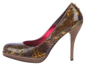 Just Cavalli Leather Round-Toe Pumps