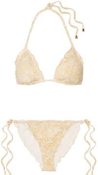 Eberjey Dakota Avalon Ruffled Printed Triangle Bikini - Gold