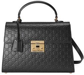 Gucci Padlock Medium Guccissima Top-Handle Satchel Bag - BLACK - STYLE