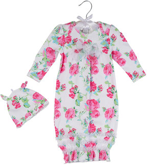Laura Ashley Two-Piece Rose-Print Gown Set, Multi Pattern, Size 0-24M