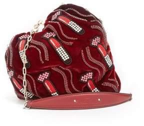 Valentino Carry Secrets Bead Embellished Heart Velvet Clutch - Womens - Burgundy Multi
