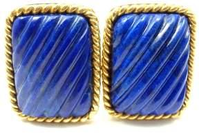 Tiffany & Co. 18K Yellow Gold Lapis Lazuli Rope Bordered Gold Cufflinks