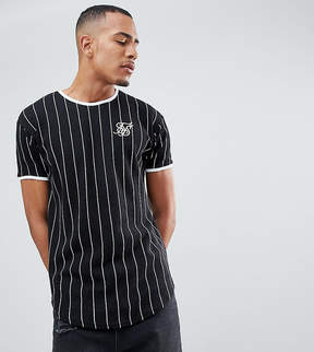 SikSilk TALL Muscle T-Shirt In Black With Stripes Exclusive to ASOS