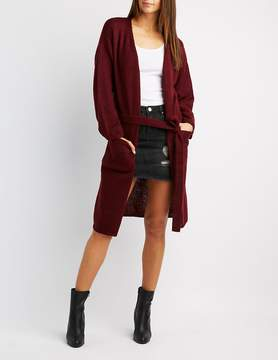 Charlotte Russe Shaker Stitch Belted Duster Cardigan