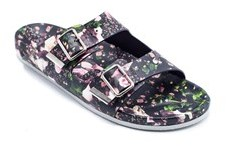 Givenchy Black And Multi-pink Floral Leather Sandals.