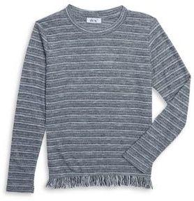 Dex Girl's Fringe Hem Striped Sweater