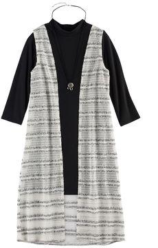 My Michelle Girls 7-16 Mockneck Cozy Duster Vest & Dress Set with Necklace
