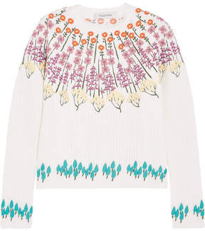 Valentino Embroidered Wool-blend Sweater - Ecru