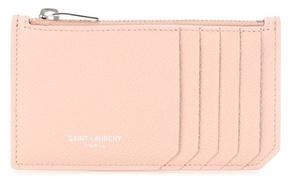 Saint Laurent Classic Paris leather card holder - PINK - STYLE