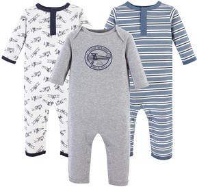 Hudson Baby Gray & Blue Aviation Playsuit Set - Newborn & Infant