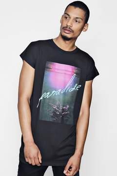 boohoo Longline Cap Sleeve Paradise Print T-Shirt
