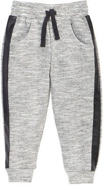 Petit Lem Marled Knit Lounge Pants w/ Faux-Leather Trim, Size 2-6X