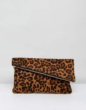 Asos Leopard Foldover Clutch Bag
