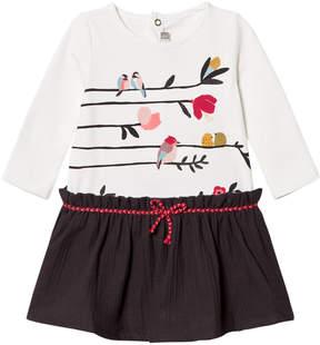 Catimini White Bird Print Jersey and Woven Dress