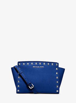 Michael Kors Selma Medium Studded Leather Messenger - BLUE - STYLE