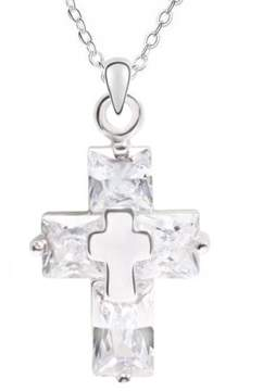 Alpha A A Designer Inspired Silver Cross Pendant Necklace