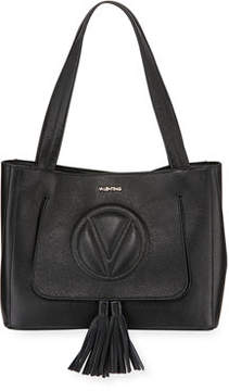 Mario Valentino Valentino By Estelle Signature Leather Tassel Shoulder Tote Bag