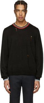 Lanvin Black Wool Distressed Sweater