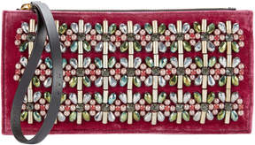 Marni Embellished Red Velvet Clutch