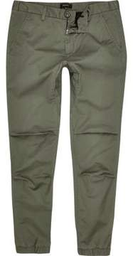 River Island Mens Green tapered cotton joggers