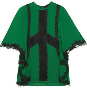 Elie Saab Guipure Lace-trimmed Crepe Blouse - Forest green