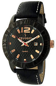 Peugeot Men's Black Leather Strap Sport Bezel Watch