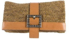 Michael Kors Janey Straw Clutch - BROWN - STYLE