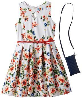Knitworks Girls 7-16 Floral Patterned Textured Skater Dress & Crossbody Purse Set