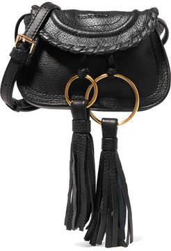 See by Chloé - Polly Mini Tasseled Textured-leather Shoulder Bag - Black